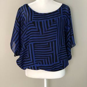 AGB Womens Blue & Black Striped Batwing Blousew